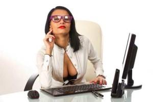 Sexy secretary on the phone